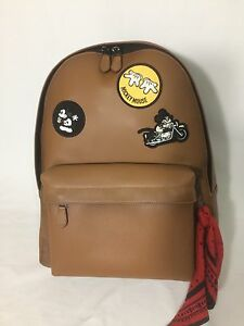 Large COACH x Disney Charles Patchwork Leather Mickey Backpack Brown NWT