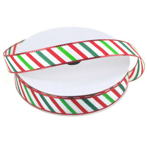Candy Striped Polyester Christmas Ribbon 58-Inch 25-Yard