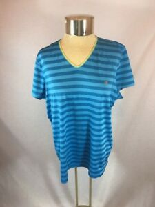 Women's Champion Blue Striped Workout Athletic T-Shirt Sz XXL