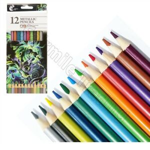 10 Metallic Colouring Pencils Artist Quality Colour Therapy Craft Silver Gold