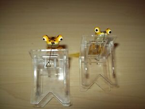 Vintage Heddon Pop-Eye Frog Fly Lures  (2) Yellow Frog Very Nice Condition