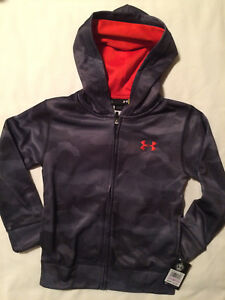 Under Armour Boys Gray Black Orange Camo Zip Hoodie Jacket - Size 6 Baseball