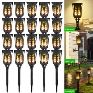 20 Pack 96 LED Rectangle Solar Flames Dancing Torch Lights Wall Light Waterproof