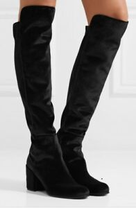 Stuart Weitzman Lowjack Boot Black Suede Stretch Knee High Round Toe Size 8
