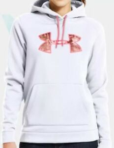 $65 Under Armour Women's Storm Caliber Camo Pink Hoodie White 1247106 100 Size M
