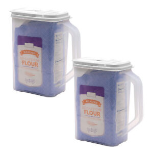 2 Pack Food Storage Container 4 Qt Flour Sugar Keeper Pour n' Store with Handle