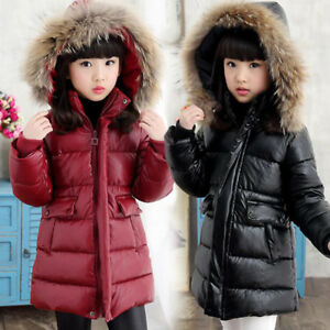 Kids Boys Girls Down Cotton Leather Real Fur Hooded Jacket Snowsuits Coat Parka
