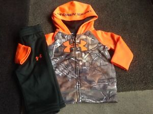 Infant boys Under Armour camo full zip hoodie pants outfit 36 months (NWOT)