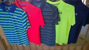 Set of 5 Under Armour Boys YXL Loose Fit Gear Short Sleeve Polo Shirts