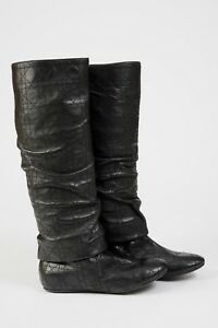 NEW Women's Christian Dior Boots Shoes Black Leather Quilted Size 38 size 8