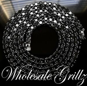NEW!! $299 Mens 14k White Gold Gp Simulate Black Diamond iced out Chain Necklace