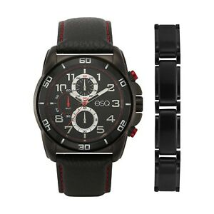 ESQ Leather Strap Men's Watch and Bracelet Set