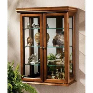 Vintage Glass Display Case Durable Wooden Hanging Cabinet Mirrored Back Shelves