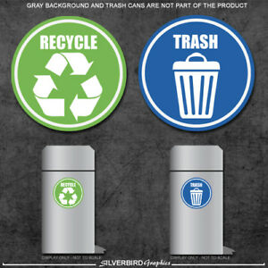 Trash and Recycle - sticker decals / home and office container / various sizes!