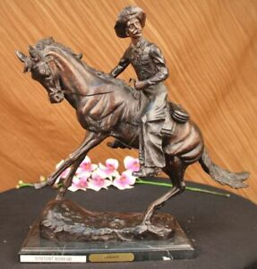 COWBOY Bronze Metal Sculpture By - Frederic Remington - 21 inch Hand Made Figure