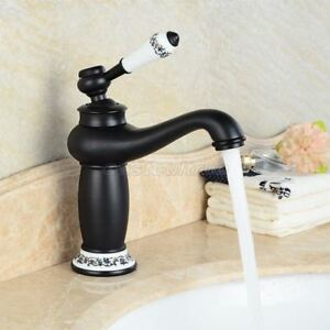 Oil Rubbed Bronze Ceramic Base Bathroom Faucet Single Sink Mixer Tap Enf504