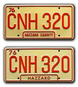 Dukes of Hazzard  General Lee Double CNH 320  STAMPED Prop License Plate Combo