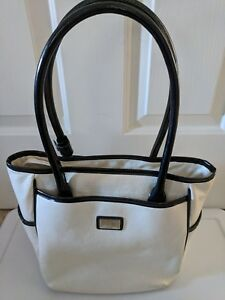 BEIJO Large Purse Handbag Bag White Cream Black Shiny Textured Patent Leather