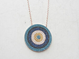 TURKISH EVIL EYE STERLING SILVER ROSE 925 SAPPHIRE TURQUOISE GOOD LUCK NECKLACE