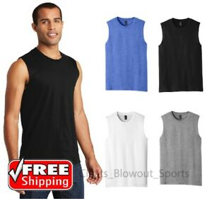 District Mens Sleeveless Muscle Tee DT6300 Cotton Solid Tank T Shirt $9.28