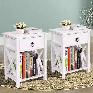 Set of 2 Wood White Sofa End Side Bedside Table Nightstand WDrawer Storage