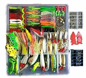 Fishing Lure with Tackle Box 275Pcs included Pencil Bait Popper Fish Frogs Lu...