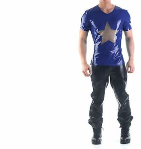 NEW Sexy Latex Rubber Sheer Party Star T-Shirt Unisex SQUEEZE.DOG USA  Ton