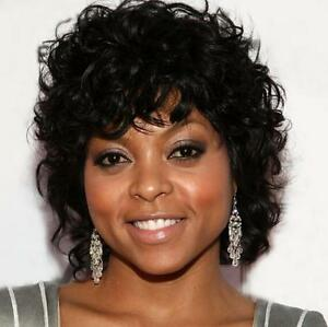 Chic Cut Fluffy Curly Hairstyle Black Color African American Synthetic Hair Wigs