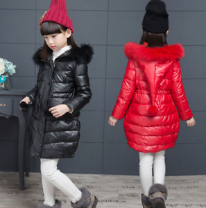 Girls winter cotton coat big children Synthetic leather coat long Hooded jacket