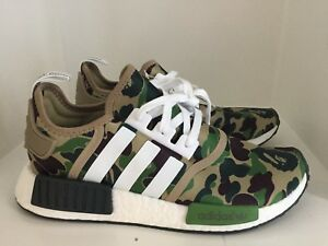 NEW Adidas Bape NMD Runner M1 Olive Green Camo Size BA7326 Size 8.5