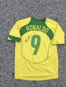 Vintage Nike Dri Fit Ofiicially Signed Ronaldo Brazil World Cup 1998 Jersey L