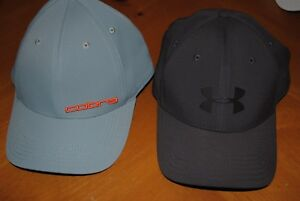 2 GOLF HATS CAPS COBRA UNDER ARMOUR GREY GRAY FITTED & ADJUSTABLE