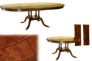 American Made Round to Oval Mahogany Dining Room Pedestal Table