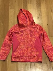 Under Armour Size Youth XS Large Red Camo Storm Hoodie Pull Over Sweatshirt