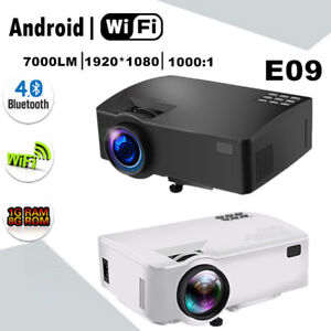 E09 LED Projector 3D Home Theater 7000lm FHD 1080P 4K Android BT WIFI 2 Color AT