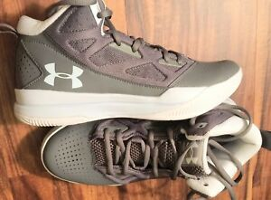 Womens Grey Under Armour Basketball Sneakers Size 8.5M