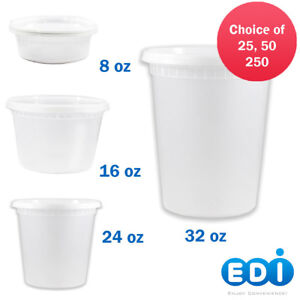EDI Round Plastic Deli Food Containers with Lids BPA FREE