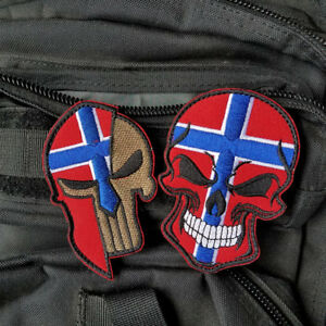 2PCS PUNISHER SKULL SPARTAN HELMET NORWAY COUNTRY NORWEGIAN FLAG HOOK PATCH