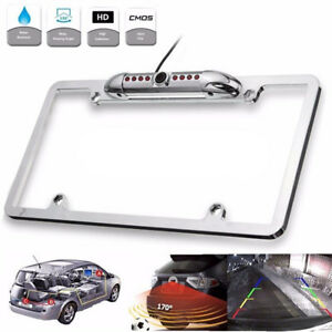 Car Rear View Backup Camera 8 IR Night Vision US License Plate Frame CMOS Chrome