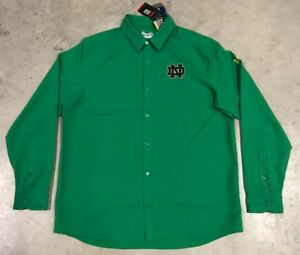 Under Armour Notre Dame Figting Irish Button Down Shirt Polo Green SZ XL NEW!!