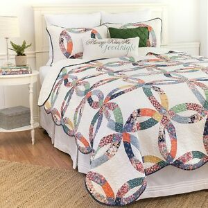 Heritage Wedding Ring Traditional King Size 3 Pc Quilt Set Quilt + 2 Shams C