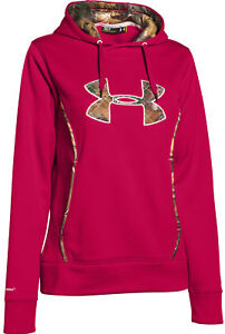 NEW UNDER ARMOUR 1247106 623 WOMENS STORM HOODED SWEATSHIRT RED CAMO MEDIUM