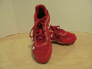 Under Armour Youth Boy Girl Red White Lace Baseball Cleat Shoe Sz 3Y CM22