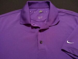 Nike Golf Fit Dry Mens Small Short Sleeve Solid Purple Athletic Polo Golf Shirt