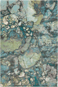Contemporary Abstract Transitional Aqua Teal Area Rug **FREE SHIPPING** $219.00