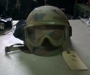 Kevlar Helmet - Medium with Goggles Helmet Cover-Complete wstraps - As Issued