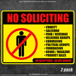 2x No Soliciting sticker window vinyl label decal home knocking