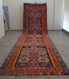 55 x 195 inches Turkish Kilim Rug Hand Woven Large Runner - Long and Wide Runner