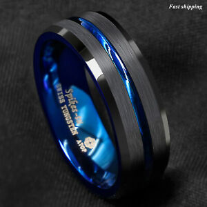 8 6mm Tungsten Men's Ring Thin Blue Line Inside Black Brushed Band ATOP Jewelry $9.99