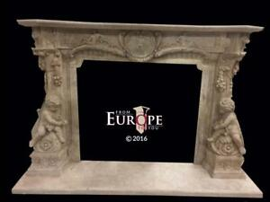 BEAUTIFUL HAND CARVED MARBLE  EUROPEAN DESIGN  FIREPLACE MANTEL - JD312